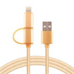 Cable Usb 2 En 1 Samsung Iphone Micro Usb Lightning Mallado