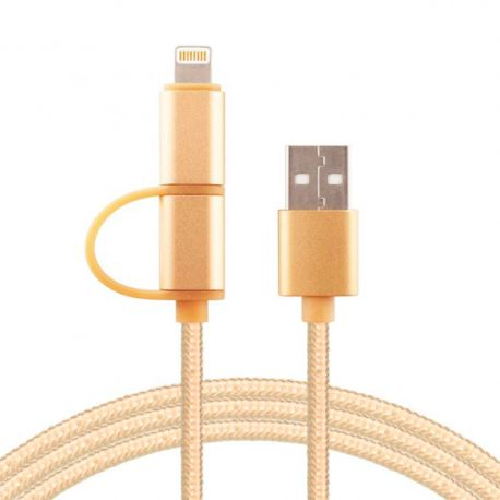 Cable Usb 2 En 1 Samsung Iphone Micro Usb Lightning Mallado