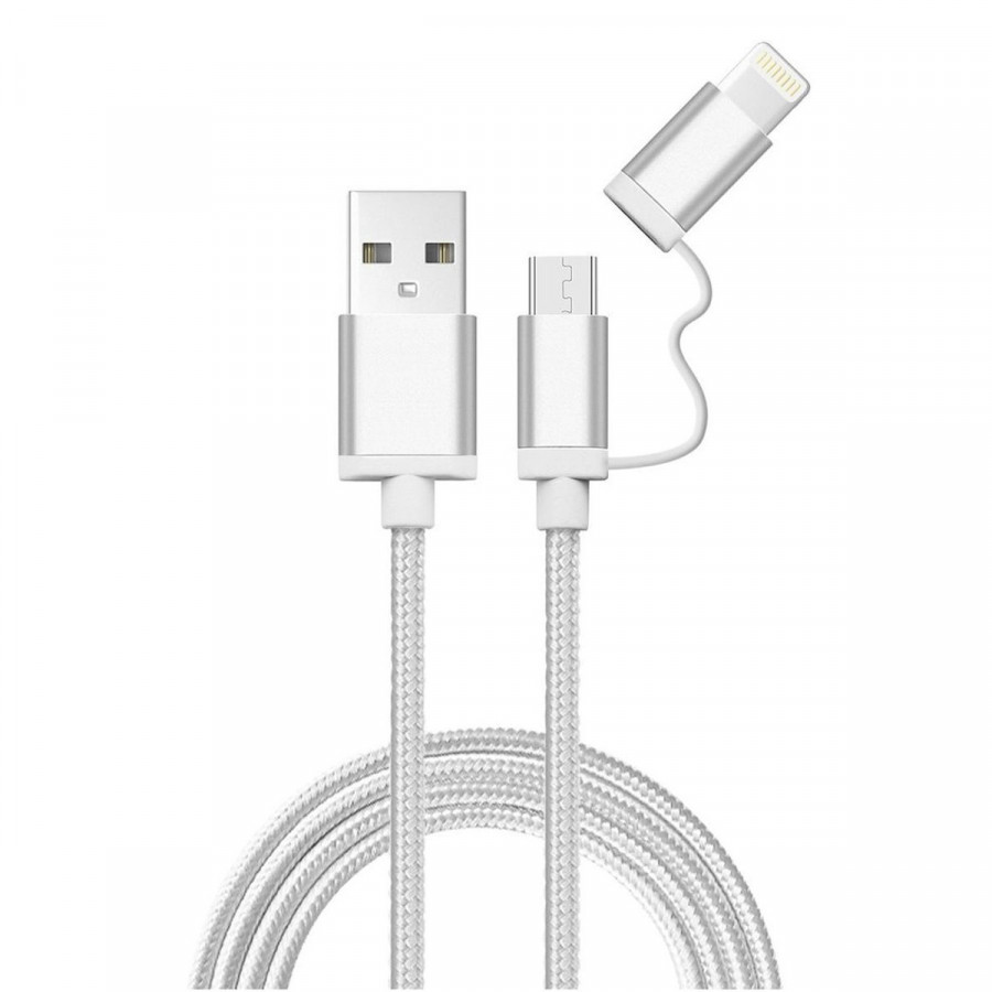 Cable Usb 2 En 1 Samsung Iphone Micro Usb Lightning Mallado - Plateado